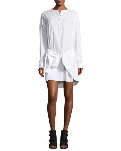 Tie-Waist Poplin Shirtdress, Bright White