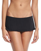 Solid Ruffle Skirted Swim Bikini Bottom, Black