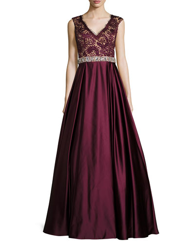 Sleeveless Embellished Lace & Satin Ball Gown, Burgundy