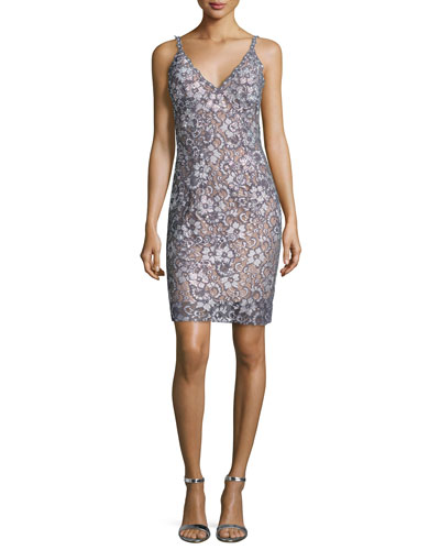 Sleeveless Floral Lace Cocktail Dress, Silver/Nude