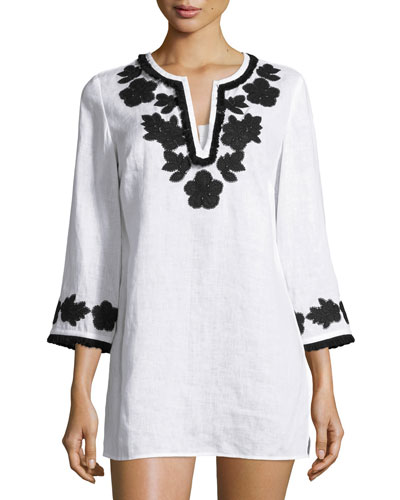 Applique-Trim Tunic, New Ivory