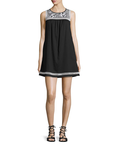 Hopewell Embroidered Dress, Black/Ivory