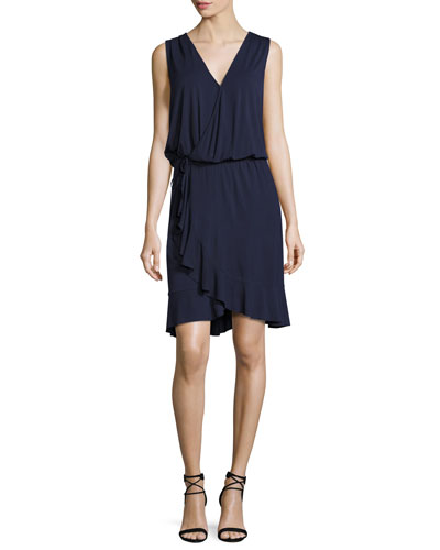 Ruffled-Hem Wrap Dress, Tory Navy