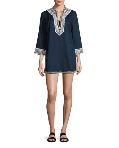 Embroidered 3/4-Sleeve Cotton Coverup Tunic, Tory Navy