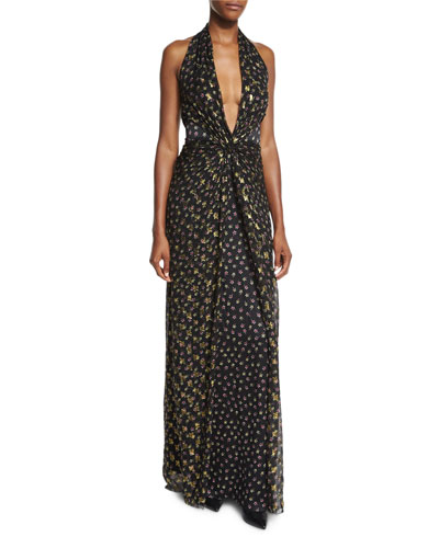 Evelina Metallic Floral-Print Maxi Halter Dress