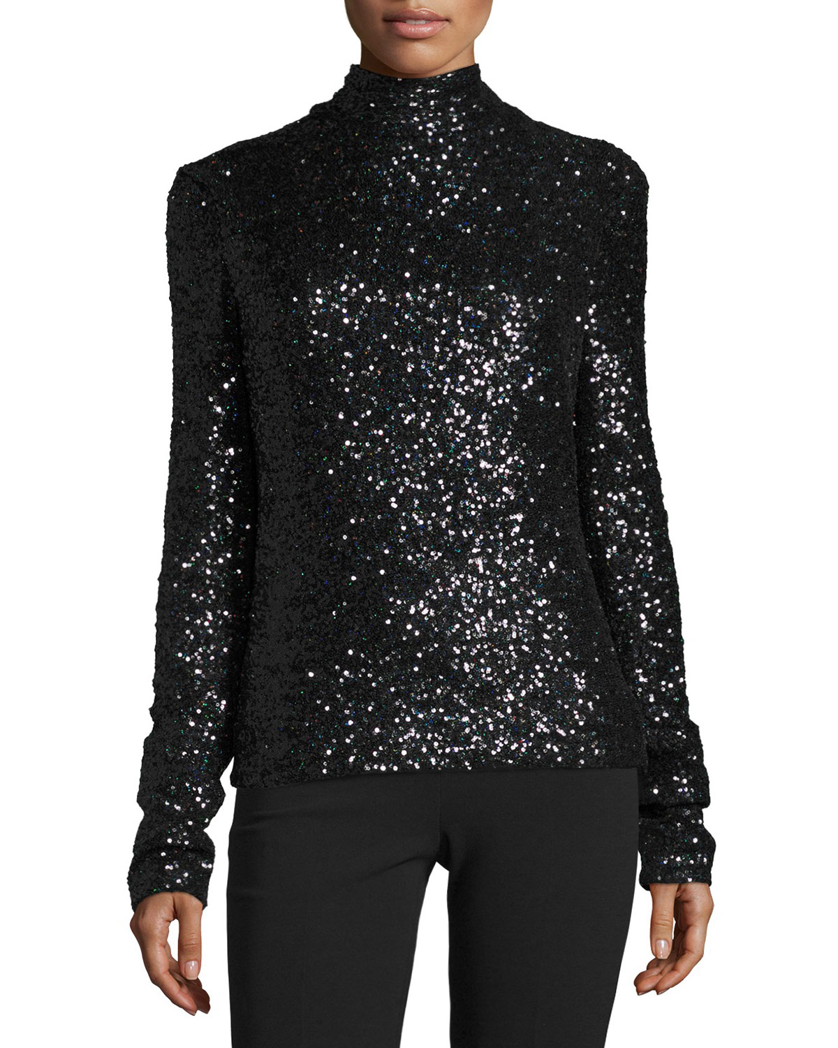 Ladina Sequined Turtleneck Top, Black