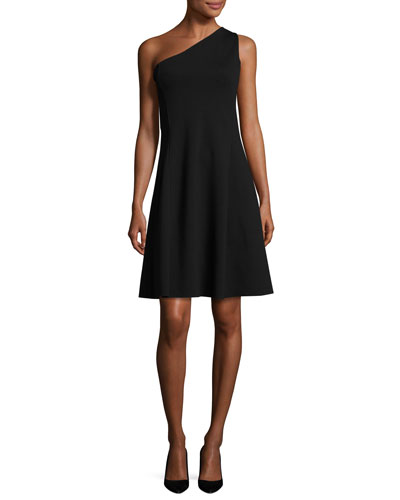 Leainna Fixture Ponte One-Shoulder Dress, Black