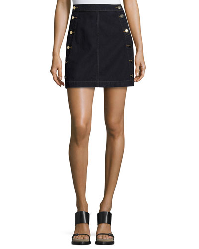 Ashlyn Side-Button Denim Mini Skirt