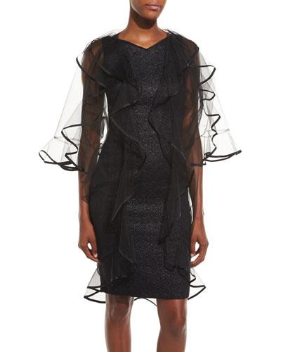 Lura Solid-Trim Long Tulle Coat, Black