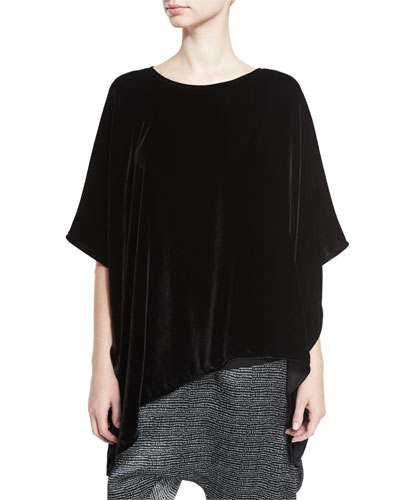 Asymmetric Velvet 3/4-Sleeve Poncho, Black, Plus Size