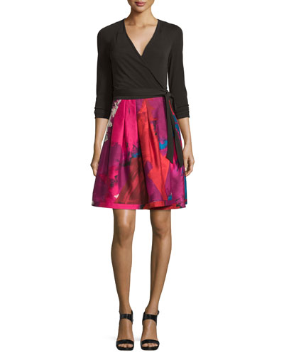 Jewel Wrap Dress w/Mikado Skirt, Black/Virtuoso Amethyst