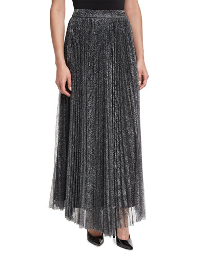 Katz Metallic Pleated Maxi Skirt, Dark Silver