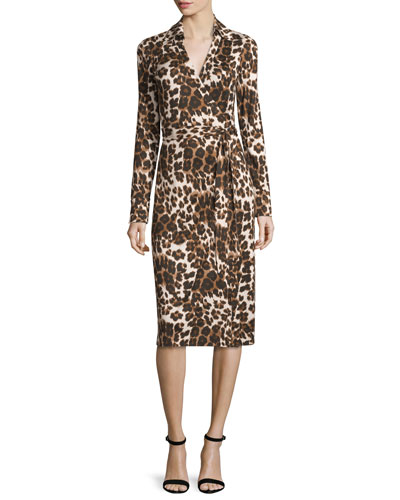 Cybil Cheetah-Print Silk Jersey Wrap Dress, Snow Cheetah Simple