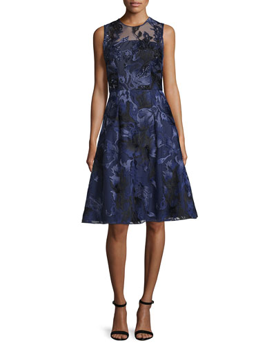 Sleeveless Beaded Floral Jacquard Dress, Navy