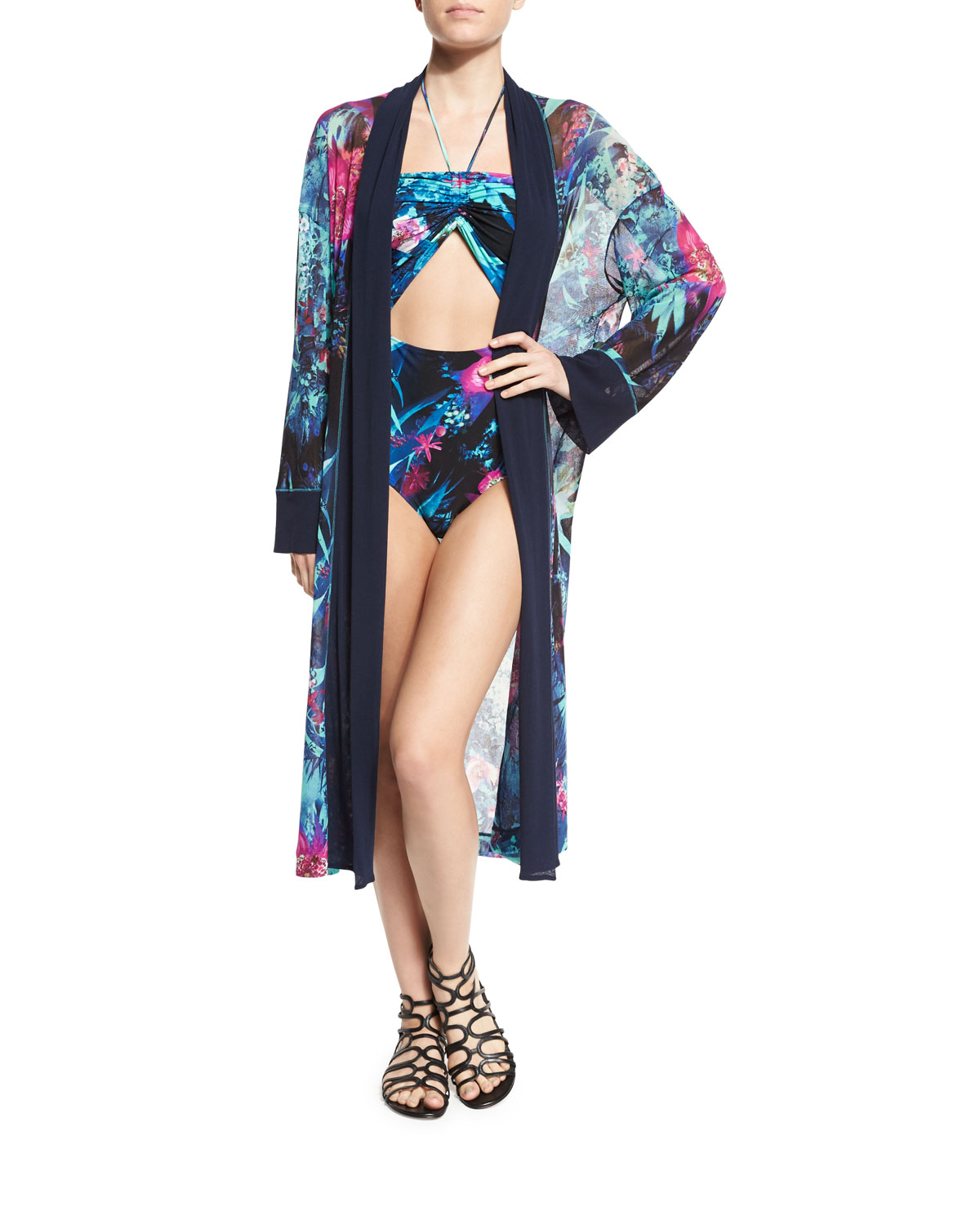 Tropical-Print Belted Kimono Coverup