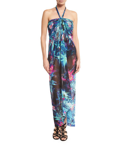 Tropical-Print Halter Maxi Dress Coverup