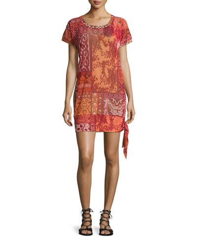 Mosaic Lace-Print Coverup Tunic
