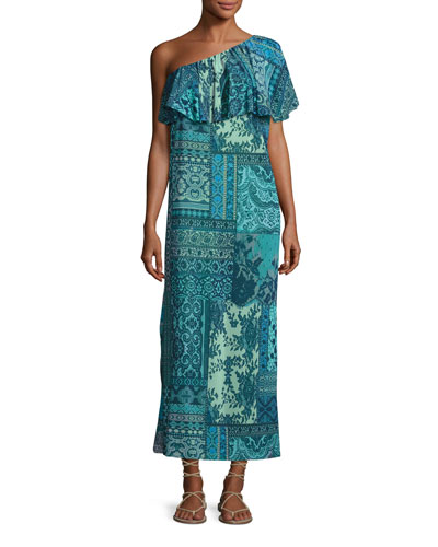 Lace-Print Mosaic One-Shoulder Maxi Dress