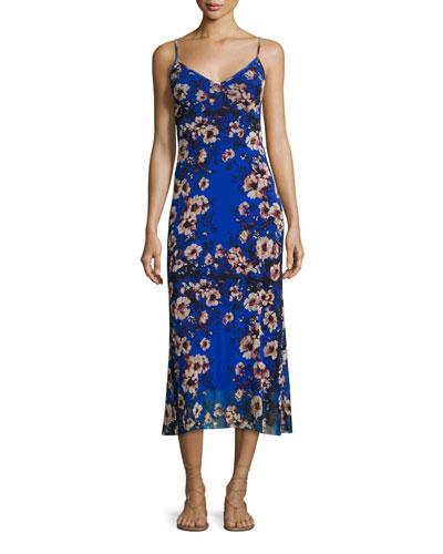 Floral-Print Slip Dress, Bluette