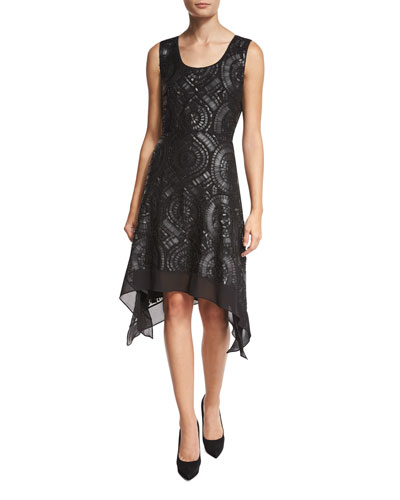 Nikkole Laser-Cut Leather Handkerchief-Hem Dress, Black