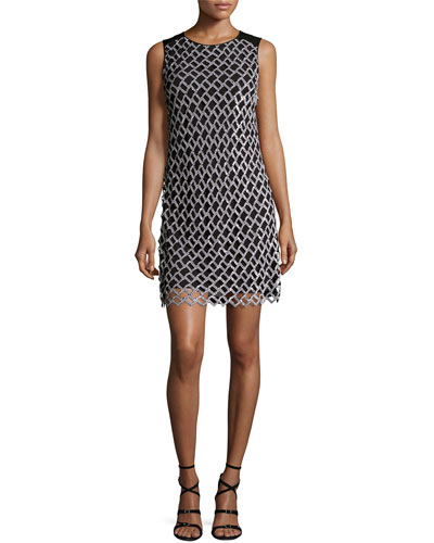 Joylyn Embellished Cocktail Dress, Black/White