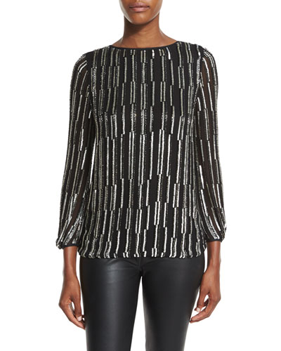 Evvy Sequined Tie-Back Silk Blouse, Black/Silver/Black