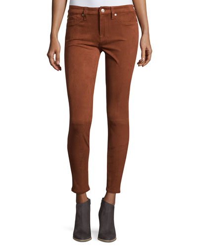 Knee-Seam Sueded Skinny Jeans, Cognac