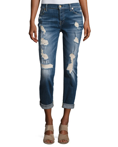 Josefina Relaxed-Fit Distressed Jeans, Blue