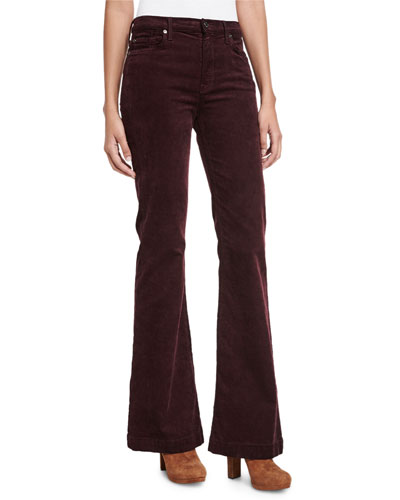 Ginger Flare-Leg Corduroy Pants, Wine