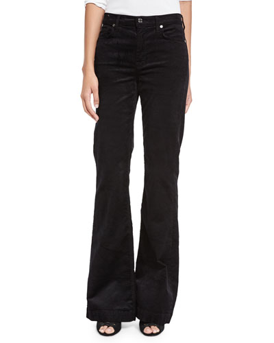 Ginger Flare-Leg Corduroy Pants, Black
