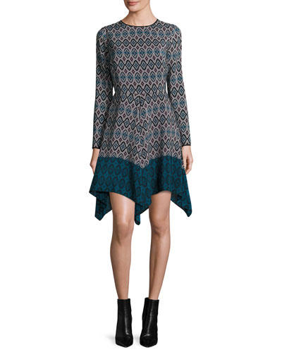 Long-Sleeve Printed Silk Handkerchief Dress, Teal