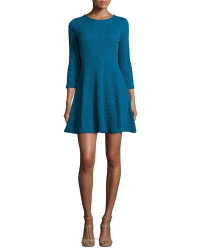 3/4-Sleeve Fit-and-Flare Jacquard Dress, Teal