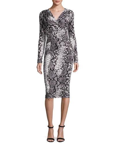 Long-Sleeve Snake-Print Jersey Dress, Black/Ivory