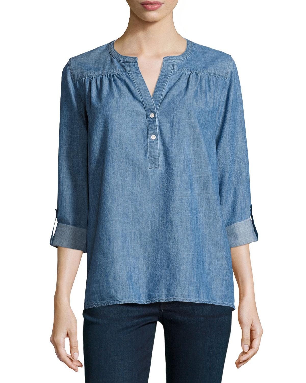 Mayleen Denim Pullover Shirt, Indigo
