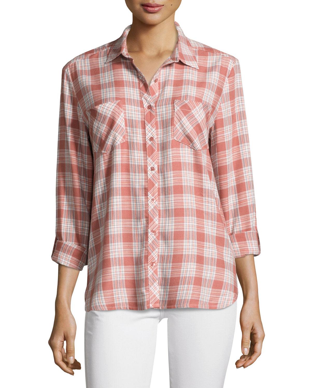 Lilya Plaid Button-Down Shirt, Rose
