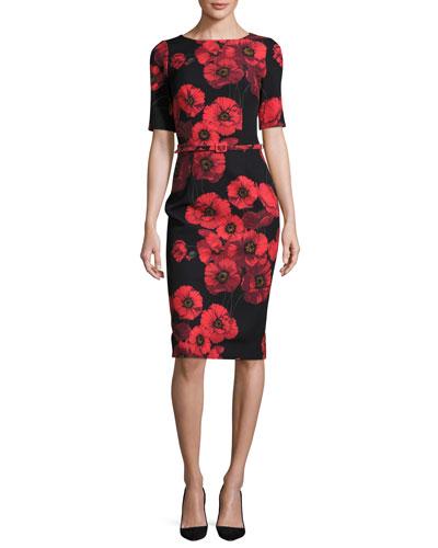 Short-Sleeve Belted Floral Sheath Dress, Red/Black