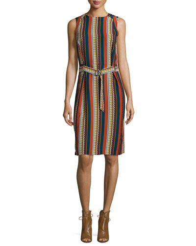 Julia Sleeveless Striped Dress, Oceano