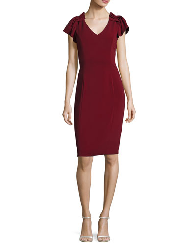 Cap-Sleeve Stretch Crepe Sheath Dress, Bordeaux