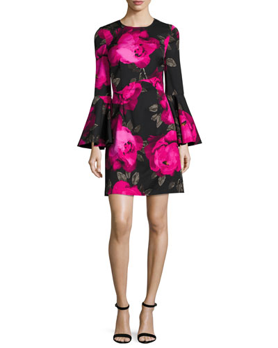 Fosse Bell-Sleeve Floral Faille Cocktail Dress, Multicolor