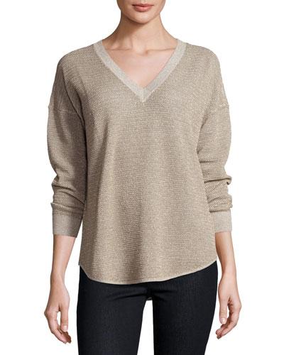 Chyanne Metallic V-Neck Sweater, Mushroom/Bronze