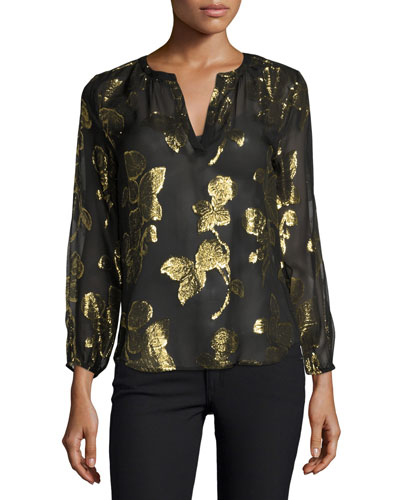 Vashti Metallic-Leaf Split-Neck Blouse, Caviar
