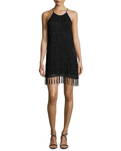 Sanibel Embellished Fringe-Trim Dress, Black
