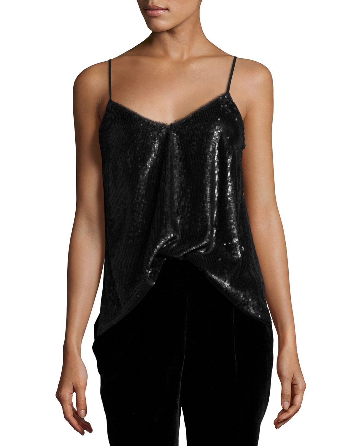 Gowa Sequined Cami Top, Caviar
