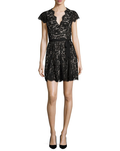 Sloane Cap-Sleeve Lace Dress, Caviar w/ Nude