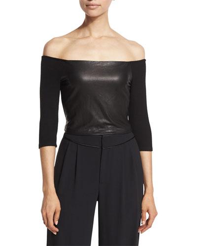 Mel Off-the-Shoulder Leather-Panel Crop Top, Black