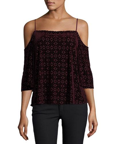 Isabeli Velvet Cold-Shoulder Top, Berry