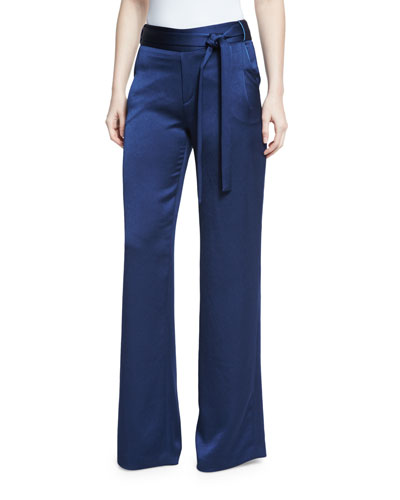 High-Waist Flowy Satin Pants, Navy