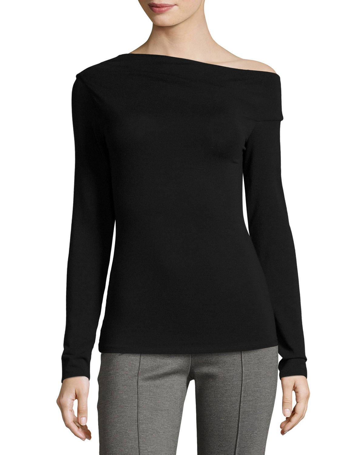 Reilly One-Shoulder Long-Sleeve Top, Black