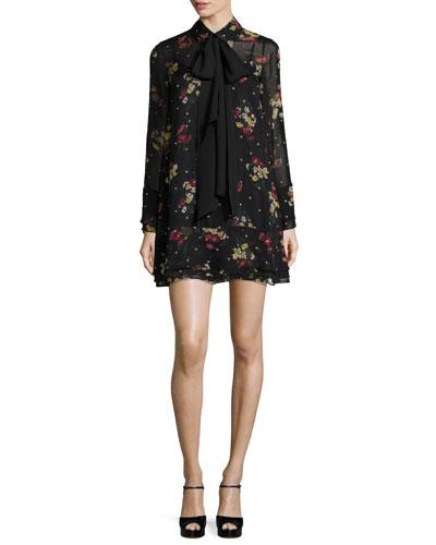 Stevie Gilded Daisy Chiffon Mini Dress, Black Multi
