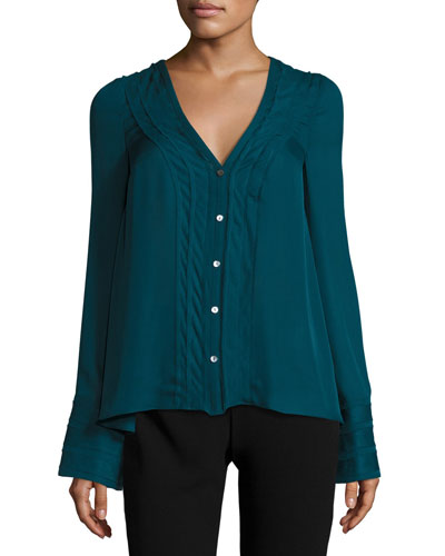 Emerson V-Neck Silk Blouse, Green Topaz